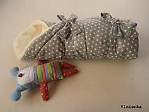 Textil - Klasická zavinovačka pre novorodenca zimná 100% MERINO TOP Hviezda sivá - 7789652_