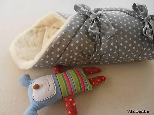 Klasická zavinovačka pre novorodenca zimná 100% MERINO TOP Hviezda sivá