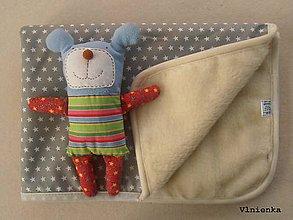 Textil - Ovčie rúno Deka pre bábätko 100% MERINO TOP super wash s kašmírom 70 x 100 cm Sivá hviezdička - 7789582_