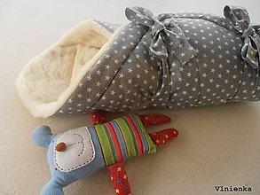 Textil - Klasická zavinovačka pre novorodenca zimná 100% MERINO TOP Hviezda sivá - 7792392_
