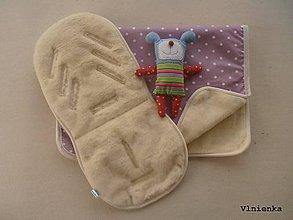 Textil - MERINO súprava do kočíka podložka a deka Bodka ružová - 7792401_