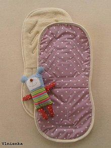 Textil - Ovčie rúno Univerzálna podložka do kočíka 100% MERINO Top BODKA fialová - 7792540_