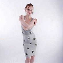 Šaty - Šaty šedé s lastovičkami - 7791510_