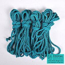 Nezaradené - Jutový provaz 7 mm tyrkysový – 4 ks pro bondage - 7788542_