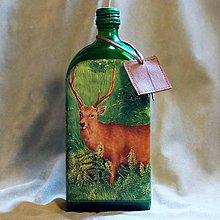 Nádoby - Poľovnícka fľaša Jeleň alaň na lúke - 7792524_