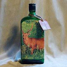 Nádoby - Poľovnícka fľaša Jelenia rodinka na lúke - 7792548_