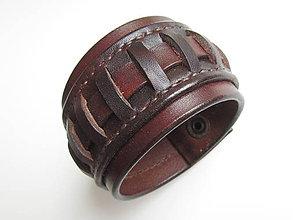 Náramky - Hnedý kožený náramok prepletaný - 7791305_