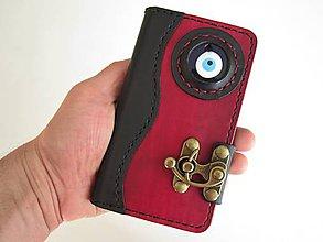 Na mobil - Steampunk kožené púzdro na mobil s amuletom - 7792829_