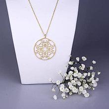 Náhrdelníky - Prívesok Ornament kvet - žlté/biele zlato 5cm - 7789153_