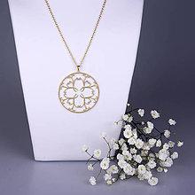 Náhrdelníky - Prívesok Ornament - žlté/biele zlato 5cm - 7789161_
