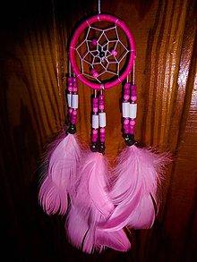 Dekorácie - lapač snov ružový svetloružové pierka - 7792691_