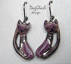 Náušnice - keramické náušnice - mačičky fialové - - 7790362_