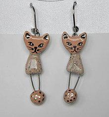 Náušnice - keramické náušky - mačičky ružové - 7790424_