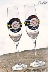 Nádoby - Láska a baseball - svadobné poháre - výroba podľa fotografie - 7791630_