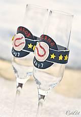 Nádoby - Láska a baseball - svadobné poháre - výroba podľa fotografie - 7791634_
