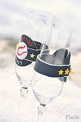 Nádoby - Láska a baseball - svadobné poháre - výroba podľa fotografie - 7791635_