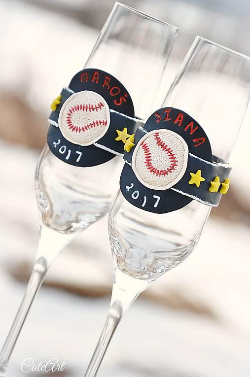 Láska a baseball - svadobné poháre - výroba podľa fotografie
