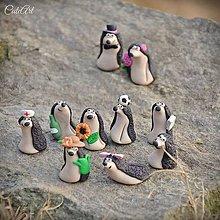 Darčeky pre svadobčanov - Personalizovaní svadobní ježkovia II. - menovky/darčeky pre hostí - 7791271_