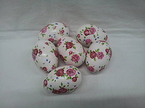 Dekorácie - veľkonočné vajíčka - ružičky - 7789969_