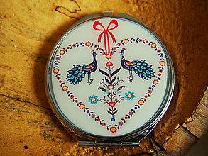 Zrkadielka - Guľaté zrkaldielko s folk vzorom s mašličkou - 7789899_