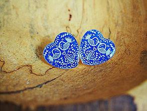 Náušnice - Veľké napichovacie srdiečka s modrým vzorom s vtáčikmi - 7790101_