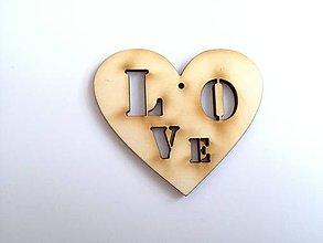Polotovary - Drevený výrez srdce Love - 7790794_