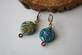 Náušnice - Mokumé modro-zelené náušnice - 7792649_