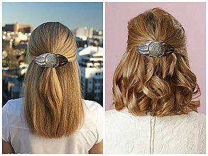 Ozdoby do vlasov - Čokoládovohnedá sponka so zlatým  slnkom - 7797215_