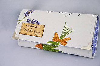 Peňaženky - Peňaženka levandule biela - 7796562_