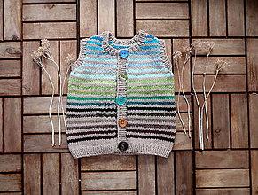 Detské oblečenie - Vestička na zapínanie v tlmených tónoch - 7793619_