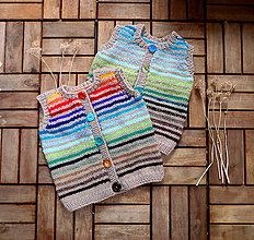 Detské oblečenie - Vestička pásikavá veselá pre 3 mesiace - 7793672_