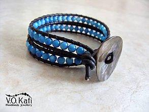 Náramky - Wrap náramok dvojradový modrý - 7795444_