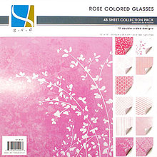 Papier - GCD - Rose Colored Glasses (romantický ružový papier na scrapbooking, 8x8, 48ks) - 7793274_