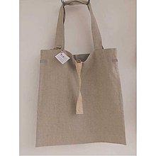 Nákupné tašky - Eko nakupovačka FILKI skladacia (poloľanová + oker káro) - 7793131_