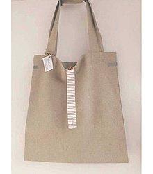 Nákupné tašky - Eko nakupovačka FILKI skladacia (poloľanová + bielo-béžový prúžok) - 7793133_