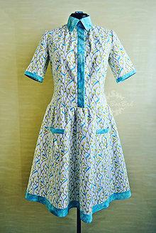 Šaty - Košeľové šaty s vtáčikmi a batikou na privolanie jari - 7800098_