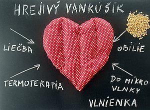 Úžitkový textil - Hrejivý vankúšik do mikrovlnky TERMOFOR Srdiečko Bodka červená - 7801618_