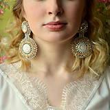 Náušnice - Wedding earrings - vyšívané náušnice - 7798577_