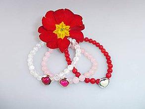 Sady šperkov - Valentínske náramky 3ks, ruženín, krištál, koral - 7798566_