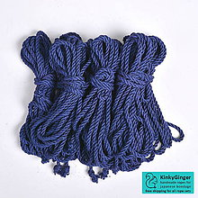 Nezaradené - Jutový provaz 7 mm Midnight blue – 8 ks pro bondage - 7798772_