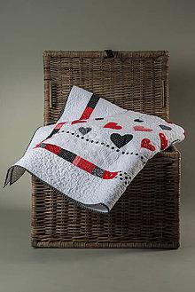 Úžitkový textil - Srdcový quilt prikrývka - 7801653_