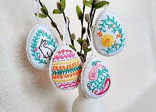 Dekorácie - vyšívané vajíčka - 7802155_