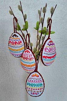 Dekorácie - vyšívané vajíčka - 7802156_