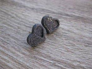 Náušnice - Napichovačky fimo rôzny vzor (Kamenné srdiečka - napichovačky č.729) - 7800288_