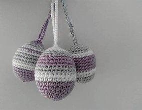 Dekorácie - veľkonočné vajíčka háčkované - na zavesenie - 7800278_