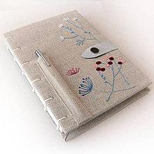 Papiernictvo - Vyšívaný zápisník Pastelové kvietky - A5 - 7798494_