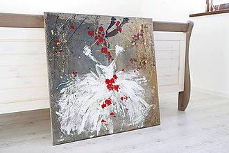 Obrazy - tutu šaty a červené kvety - 7800920_