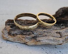 Prstene - Tepané obrúčky matné (Ružové zlato) - 7804383_