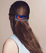 Ozdoby do vlasov - Žltooranžovočervený vtáčik v hniezde - 7806229_