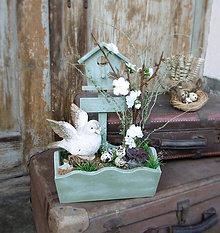 Dekorácie - Jarná dekorácia s vtáčikom - 7802573_